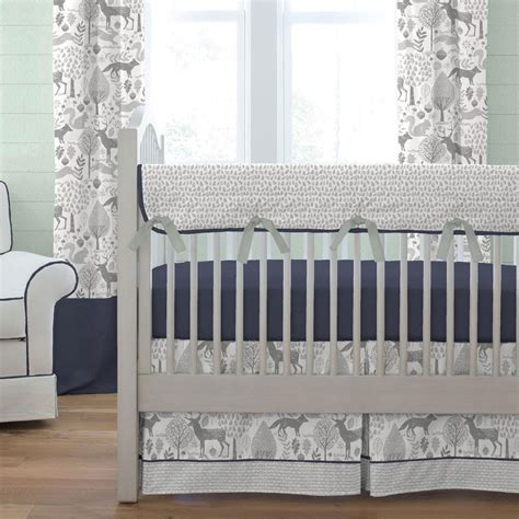 grey nursery bedding set navy and gray woodland crib bedding carousel designs