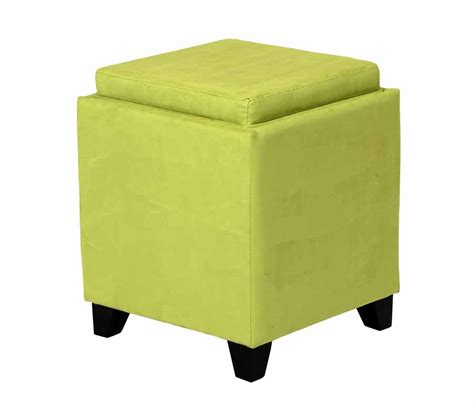 storage ottoman with serving tray green microfiber square storage ottoman with serving tray