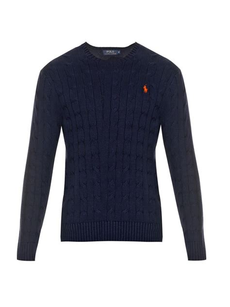 cable knit ralph sweater polo ralph cable knit cotton sweater in blue for