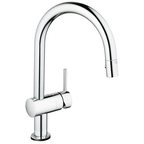 touch faucets kitchen grohe minta touch single handle pull sprayer kitchen faucet in starlight chrome 31359000