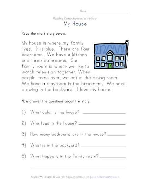 one free read free print kindergarten comprehension worksheets view