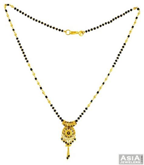traditional mangalsutra with black traditional meenakari mangalsutra ajch56322 22k gold