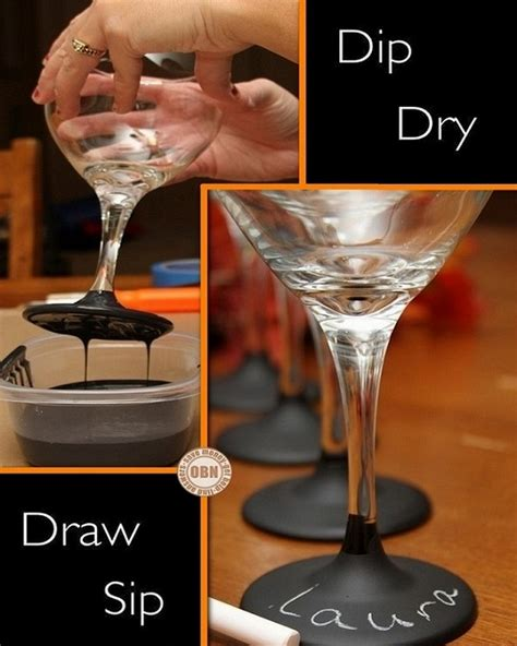Diy Chalkboard Paint Dipped Wine Glasses