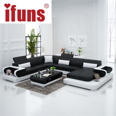 u shaped leather sectional sofa ifuns couches for living room modern leather sectional