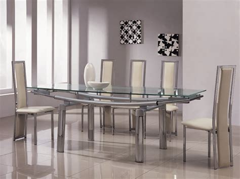 glass dining table sets 6 chairs delta mega extending glass chrome dining table and chairs