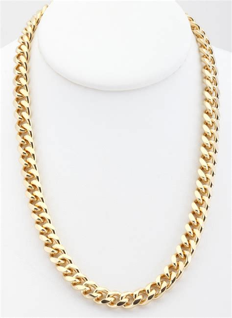 gold chain for jewelry 18k gold overlay curb cuban link chain necklace 9mm