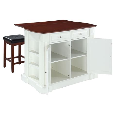 drop leaf kitchen islands drop leaf kitchen island in white with 24 quot cherry square seat stools dcg stores