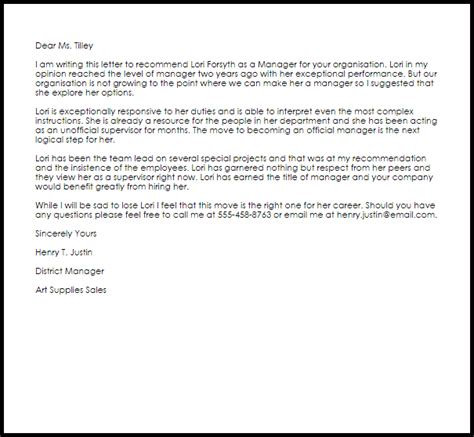 manager recommendation letter recommendation letters