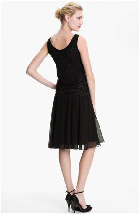 j kara beaded drop waist dress j kara beaded bodice drop waist chiffon dress in black