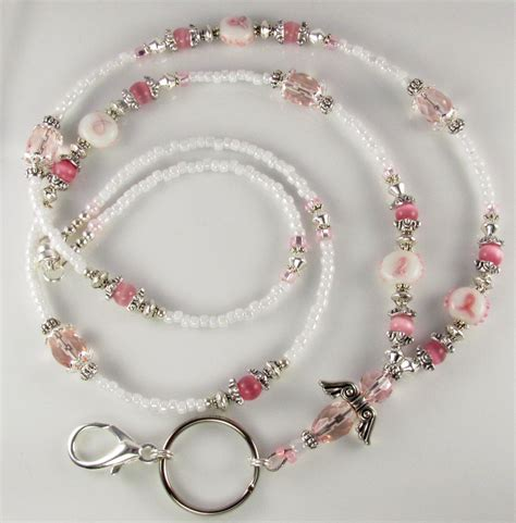 how to make a beaded lanyard beaded lanyard id badge holder breast cancer