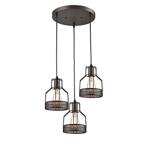 rubbed bronze dining room light fixture truelite industrial 3 light dining room pendant rustic rubbed bronze wire cage hanging light