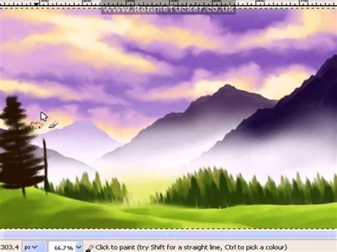 bob ross painting gimp landscape painting using gimp paint studio doovi