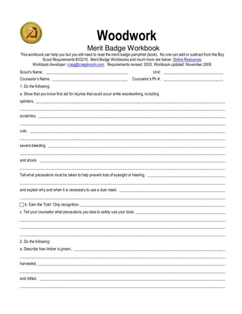 woodworking lesson plans worksheets photography merit badge worksheet chicochino