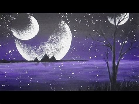 Acrylic Painting Mystical Moons Planet