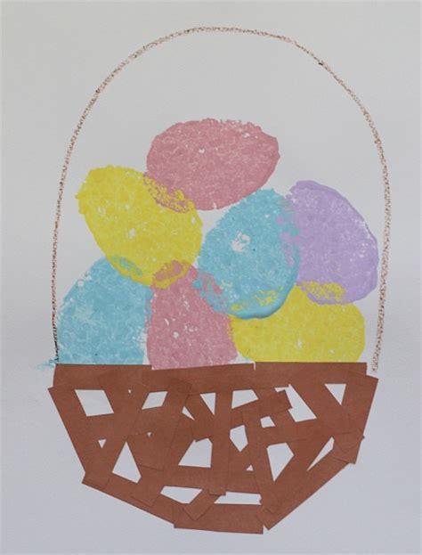 easter egg crafts for easter crafts for sponge painted easter egg basket