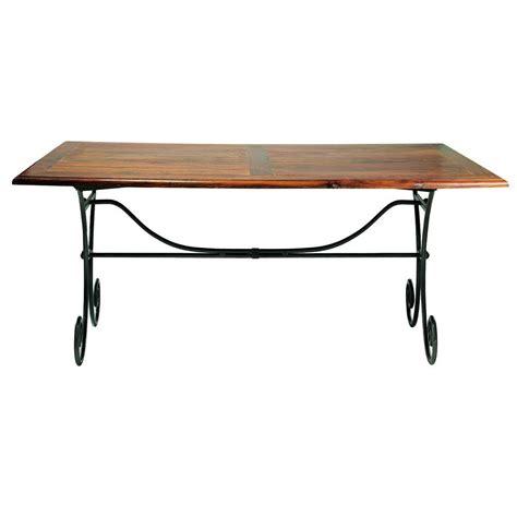 table de salle 224 manger en bois de sheesham massif et fer forg 233 l 180 cm luberon maisons du monde