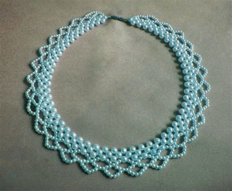 Free Pattern For Necklace Blue Pearls Magic