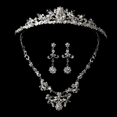 jewelry set pearl matching tiara jewelry set ne 7500