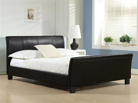 leather bed faux leather bed in black or brown colours