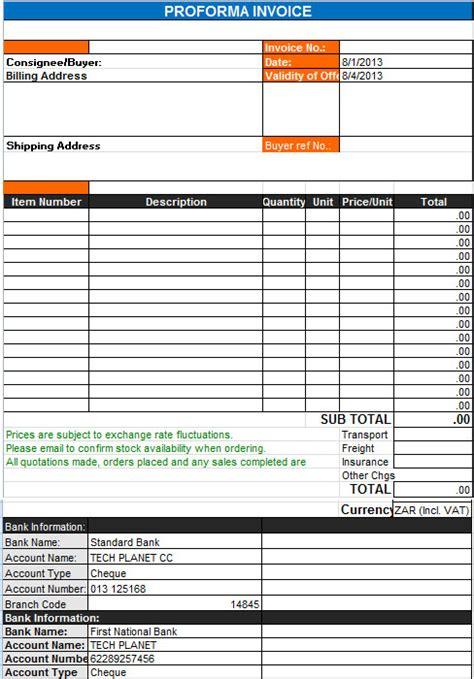 pro forma invoice template microsoft