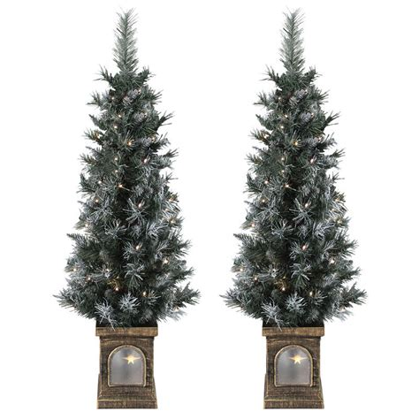 small pre lit trees uk set of 2 pre lit 4ft 120cm frosted garden