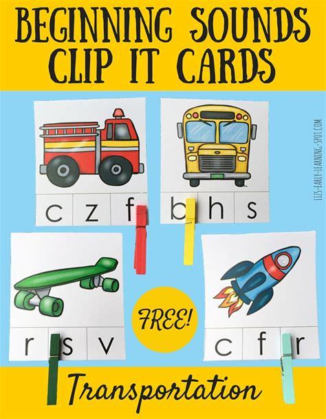 beginning card beginning sounds transportation clip it cards liz s