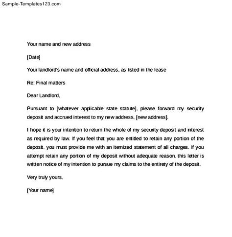 60 day notice letter for landlord sample templates