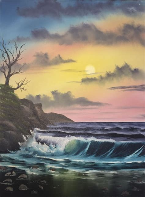bob ross painting poster land water and sky everett boyer bob ross style