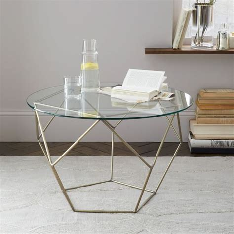 origami coffee table origami side table glass antique brass west elm