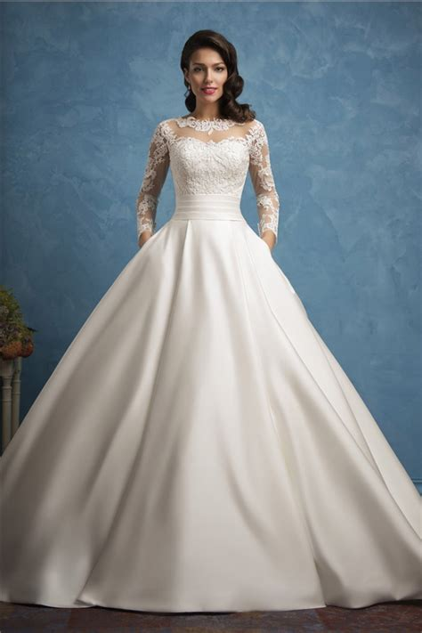 wedding gown with roayl gown illusion neckline sleeve lace satin