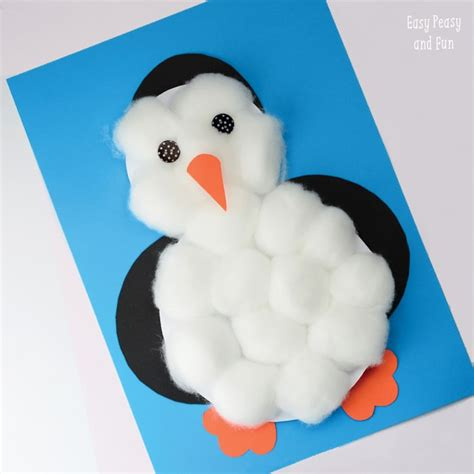 penguin crafts for cotton balls penguin craft easy peasy and