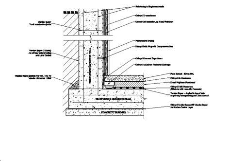 waterproof basement construction basement waterproofing in autocad drawing bibliocad