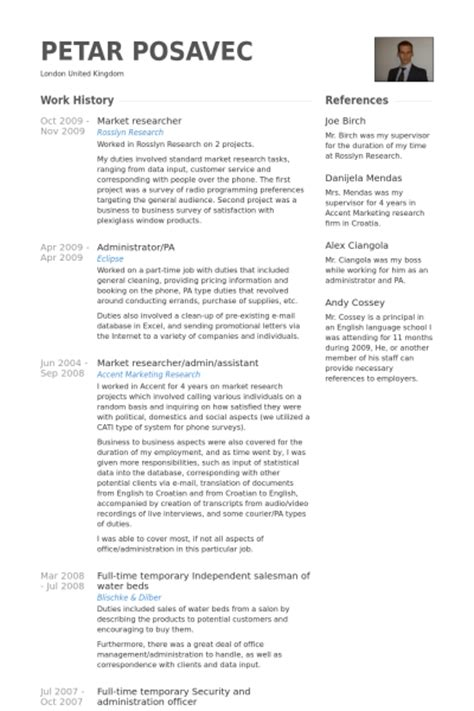 market researcher resume samples visualcv resume samples