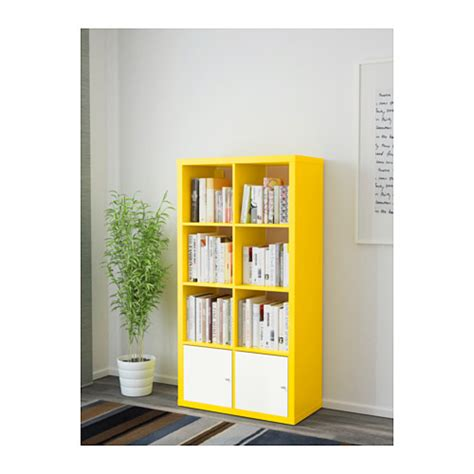 shelving unit with doors kallax shelving unit with doors yellow white 77x147 cm ikea