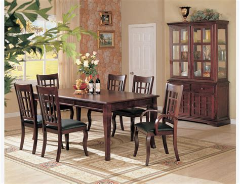 cherry wood dining room furniture 7 pc cherry wood dining room set table chairs leather seat coaster contemporary dining sets