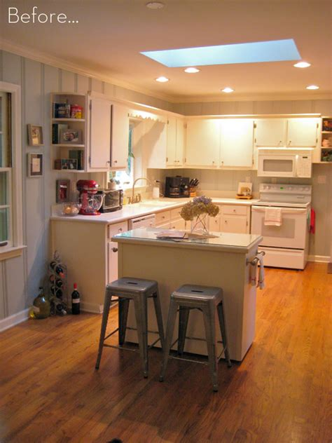 tiny kitchen island before after a diy kitchen island makeover curbly