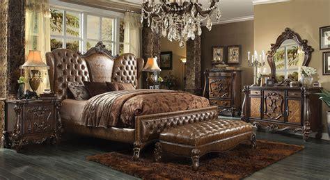 versailles bedroom set 4 versailles upholstered bedroom set in cherry oak
