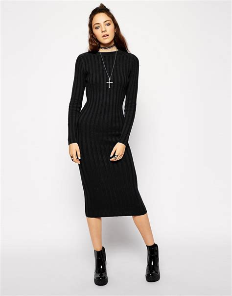 knit dress asos asos midi dress in rib knit at asos