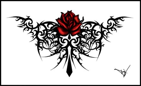 gothic maroon rose tattoo by quicksilverfury on deviantart