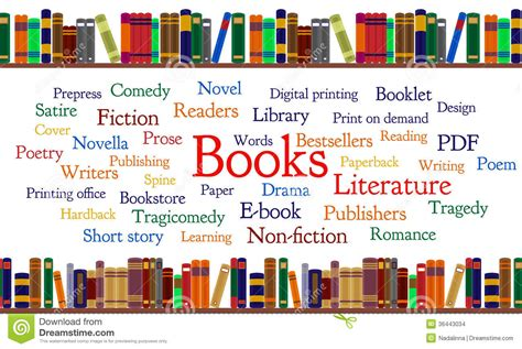 picture book genres books word cloud and books on shelf stock vector image