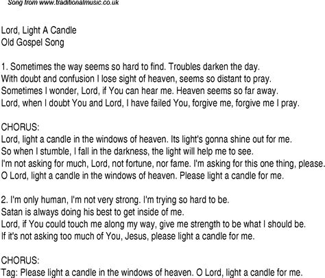 songs with light lord light a candle christian gospel song lyrics and chords
