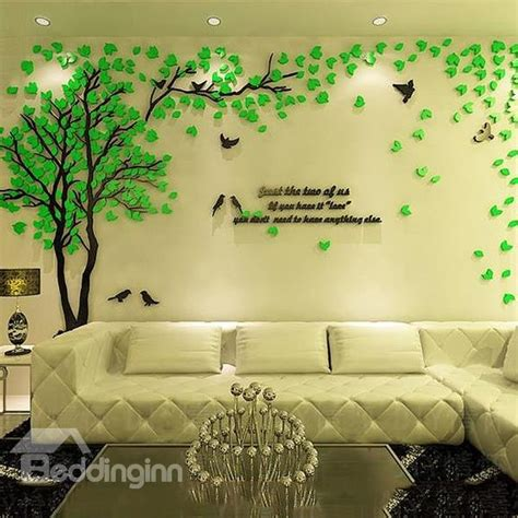 images of wall stickers creative green tree and bird pattern acrylic 3d