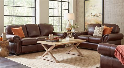decorating a living room with brown leather furniture balencia brown leather 5 pc living room leather