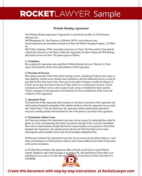 hosting a web hosting agreement template website hosting contract