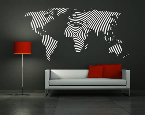 wall decal vinyl sticker home decor modern mural quot big world map quot 45 3 x 90 6 quot 115 00