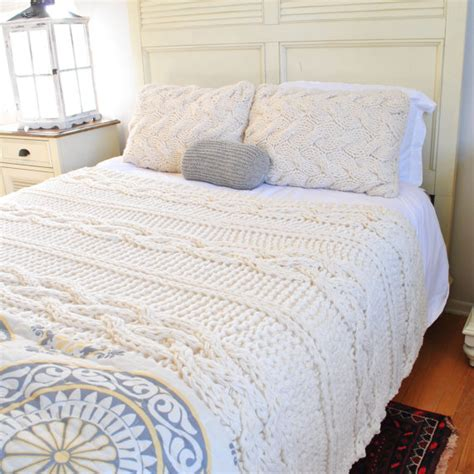 chunky knit bedspread in stock sale size chunky cable knit blanket in