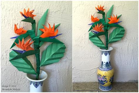 origami bird of paradise flower origami display ideas