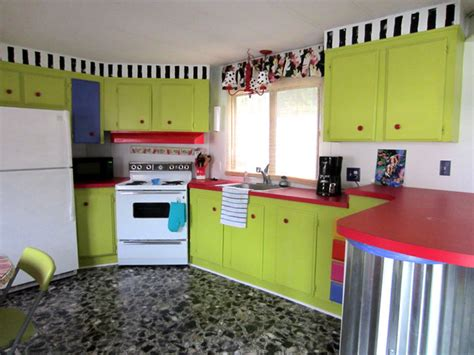 Kitchen Cabinets For Mobile Homes single wide trailer into beach vacation rental eclectic