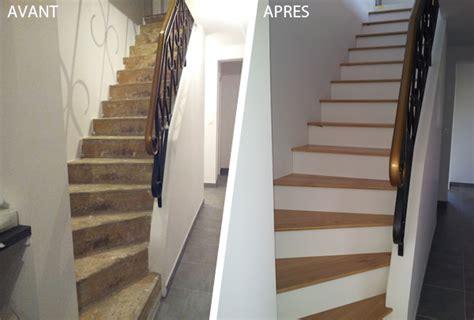 habillage d un escalier en b 233 ton avec des marches en bois massif