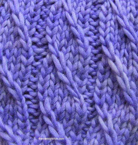 knit into back of next stitch twilled stripe stitch the weekly stitch